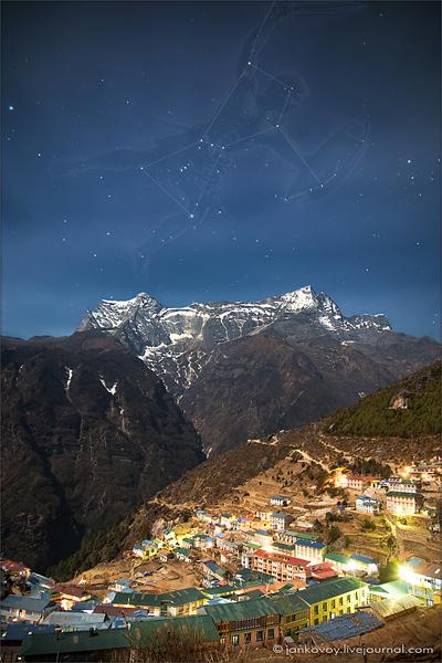 Созвездие Орион над Намче Базаром (3500 м)