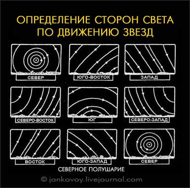 Определение сторон света по движению звезд