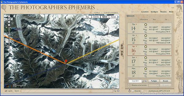 Скриншот The Photographer's Ephemeris (TPE)